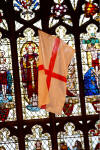 St george's flag against the lovely background of the stained glass window @ Wordsley Holy Trinity church - 22nd April 06